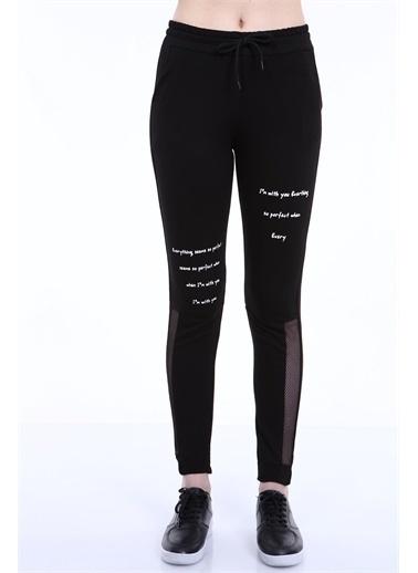 Rodi Jeans Kadın Yanı Fileli Baskılı Alt Eşofman TY21YB092637 Siyah